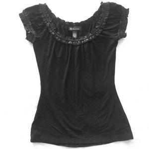 I•N•C    Black Short Sleeve Top w/ Ruffle Deco
